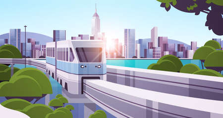 modern town with skyscrapers and monorail train on bridge smart city solutions urban infrastructure innovation