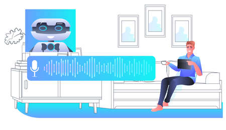 man discussing with robot chatbot assistant voice messages audio chat application online communication