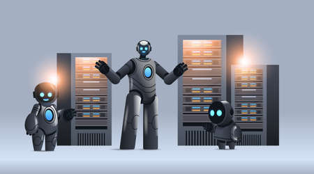 robots in server room big cloud data analysis artificial intelligence technology concept Illustration