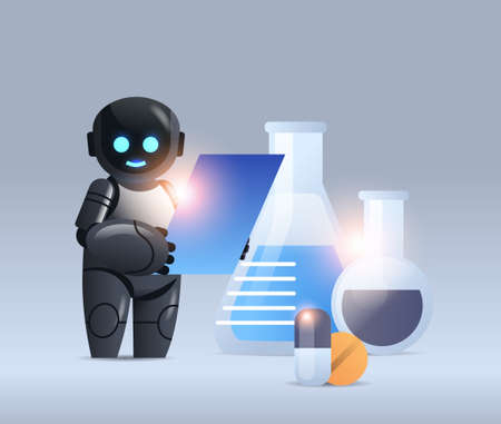 robot chemist with test tubes making chemical experiment in lab microbiology science artificial intelligence technology Illustration