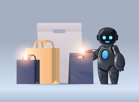 robot with purchases sale holiday shopping artificial intelligence technology concept horizontal Illustration