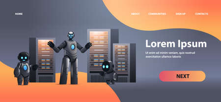 robots in server room big cloud data analysis artificial intelligence technology concept full length horizontal