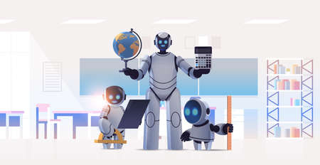 robot teacher with robotic students standing in classroom artificial intelligence technology concept
