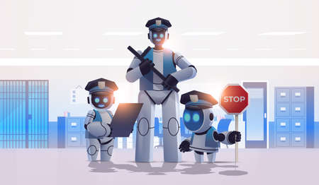 police robots patrol cops in uniform standing together artificial intelligence technology concept Illustration