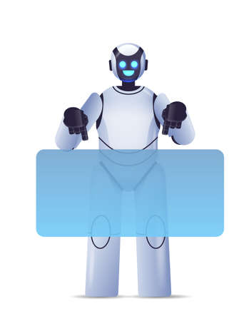 cute robot cyborg pointing at virtual board modern robotic character artificial intelligence technology concept