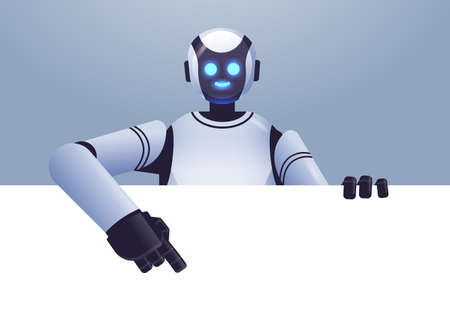 cute robot cyborg pointing at empty blank white board modern robotic character artificial intelligence technology