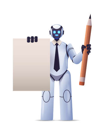 robot cyborg holding notepad and pencil robotic character artificial intelligence technology concept vertical Illustration