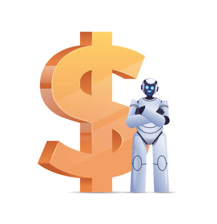 robot near dollar icon saving money high income investment earning financial growth artificial intelligence