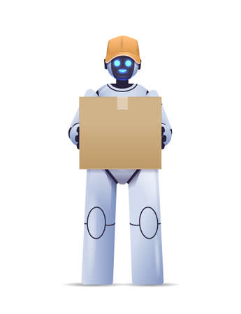 modern robot courier robotic deliver holding cardboard box delivery service artificial intelligence concept Illustration
