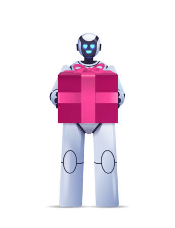 modern robot holding wrapped gift box birthday or holiday celebration artificial intelligence concept