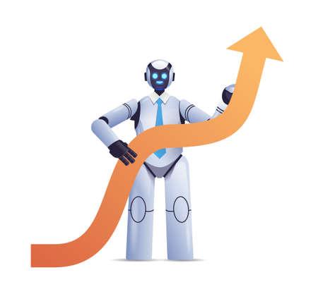 modern robot holding upward arrow business growth achievement success artificial intelligence concept