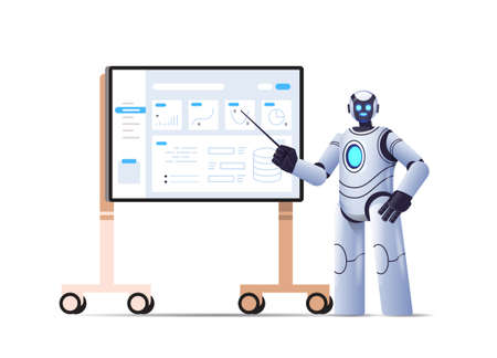 robot analyzing statistics financial data robotic character making presentation on bord artificial intelligence