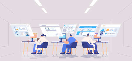 scientists team analyzing medical data on virtual boards medicine healthcare concept hospital office interior Illustration