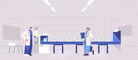 operators team controlling medicine production filling on conveyor belt doctors checking quality of products Illustration