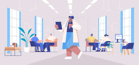 doctors in uniform examining mix race patients medical consultation healthcare concept full length horizontal Illustration