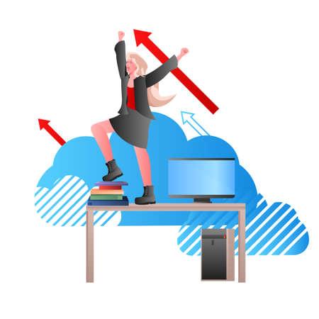 overworked businesswoman standing on workplace desk deadline stress concept Vektorgrafik