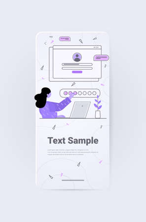 businesswoman chatting in online application communication concept vertical Illustration