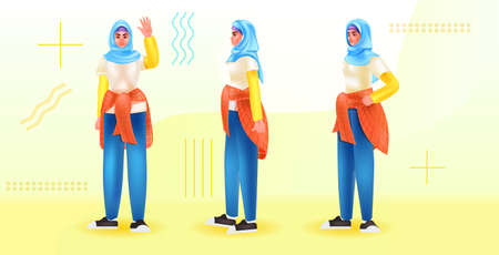 set arabic woman in traditional clothes standing in different poses horizontal full length Illustration