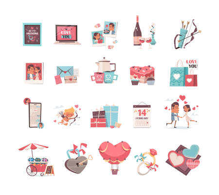 set valentines day stikers collection love holiday celebration concept greeting cards banners invitation posters