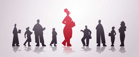 red businesswoman leader silhouette standing in front of businesspeople leadership business competition