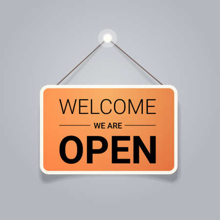 welcome we are open door advertising sign store opening concept label with text flat