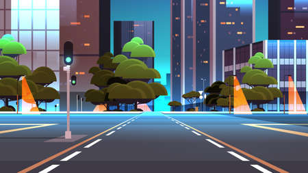empty night street road with crossroad and traffic lights city buildings skyline modern architecture cityscape background