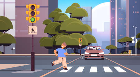 schoolboy running on crosswalk and driver stops car immediately dont run on road concept