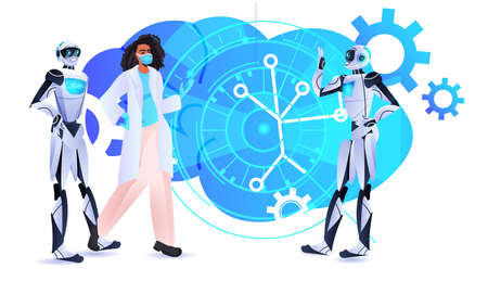 robotic psychologists discussing with woman patient in mask psychotherapeutic counseling psychotherapy session