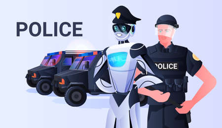 robot cop with patrol man riot police in uniform standing together artificial intelligence technology concept Vektorové ilustrace