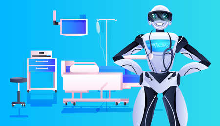 robot doctor with stethoscope modern hospital clinic ward interior medicine healthcare artificial intelligence concept Vector Illustration