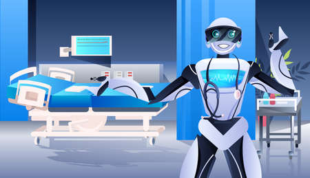 robot doctor with stethoscope modern hospital clinic ward interior medicine healthcare artificial intelligence concept