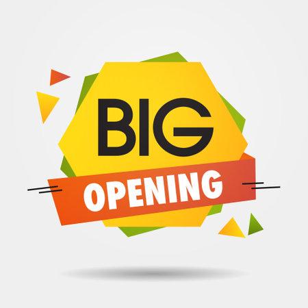 big opening sticker we are open again after coronavirus quarantine over advertising campaign concept Vektorgrafik