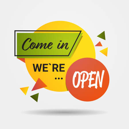 come in sticker we are open again after quarantine over advertising campaign concept Vektorgrafik