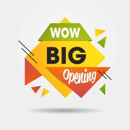 big opening sticker we are open again after quarantine over advertising campaign concept Vektorgrafik