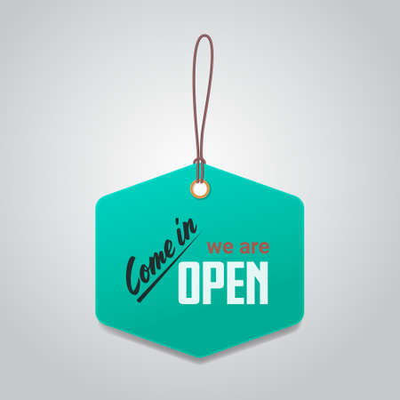 come in tag we are open again after quarantine over advertising campaign concept Vektorgrafik