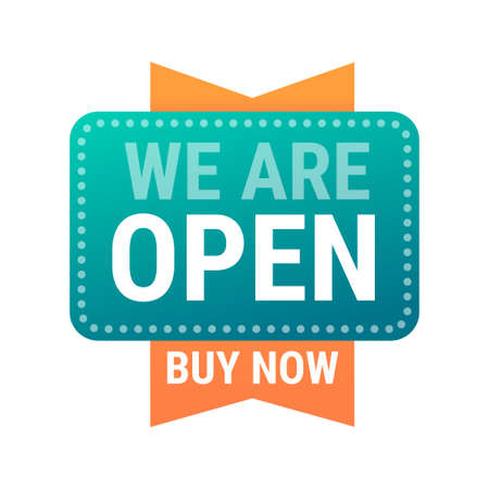 we are open buy now sticker quarantine is over advertising campaign concept Vektorgrafik