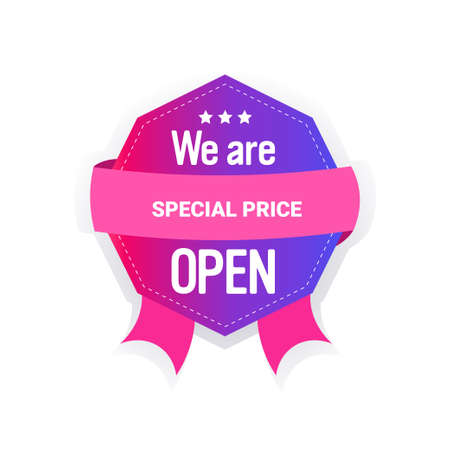 we are open special price sticker quarantine is over advertising campaign concept