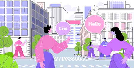 people using translation application multilingual greeting international online communication concept