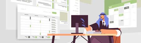 arab businessman at workplace planning day scheduling appointment in online calendar app agenda meeting plan Ilustración de vector