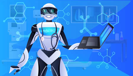 robot doctor with stethoscope using laptop modern hospital clinic ward interior medicine healthcare