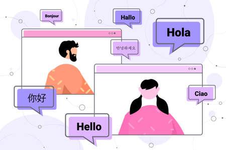 people using translation application multilingual greeting international online communication