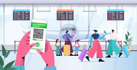 travelers using digital immunity passports on smartphone screens risk free covid-19 pcr certificate coronavirus immunity Vektoros illusztráció
