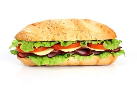 ham: Ham en kaas sandwich met tomaat en sla
