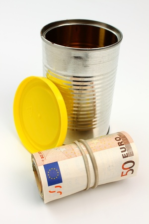 roll of money with a tin can