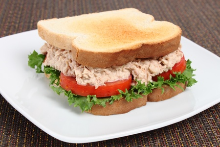 Fresh tuna sandwich with lettuce and tomato