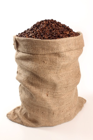 coffee harvest: sack of coffee on a white background Stock Photo