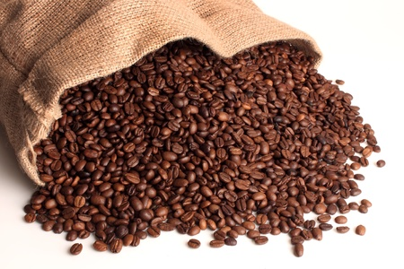 sack of coffee on a white background Stock Photo
