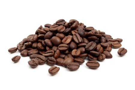several coffee beans on a white background Stock Photo