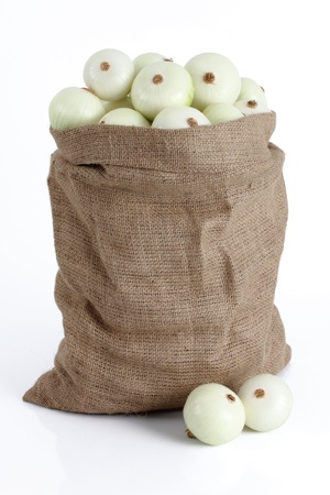 group of onions in a cloth bag