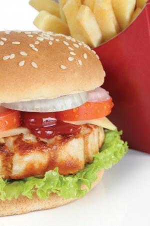 hamburguesa de pollo: hamburguesa de pollo Foto de archivo